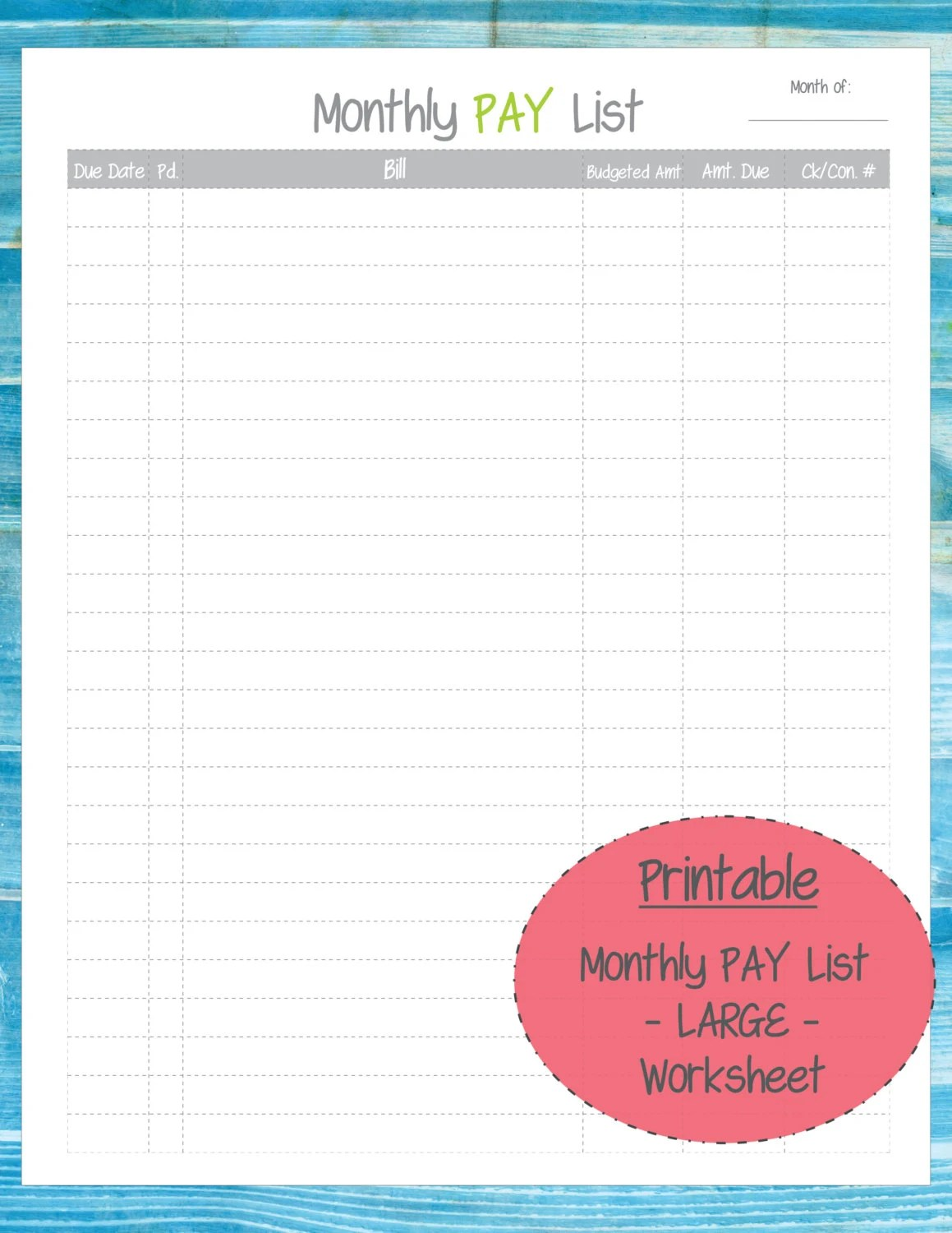 Monthly Bill Pay List Worksheet Printable By