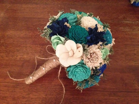 Teal Aqua And Mint Wedding Bouquet Made With Sola Flowers