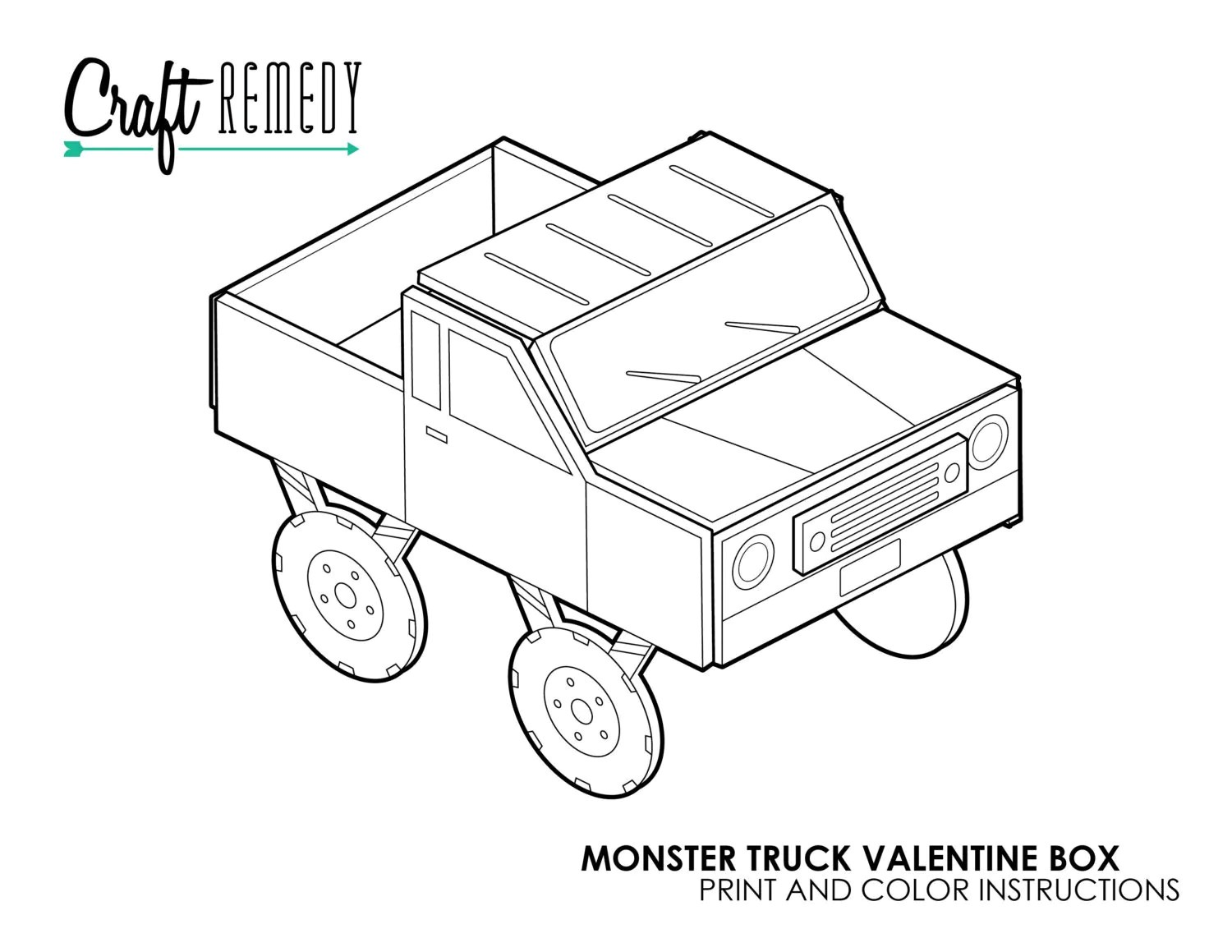 Monster Truck Valentine Box Instructions Digital Art File