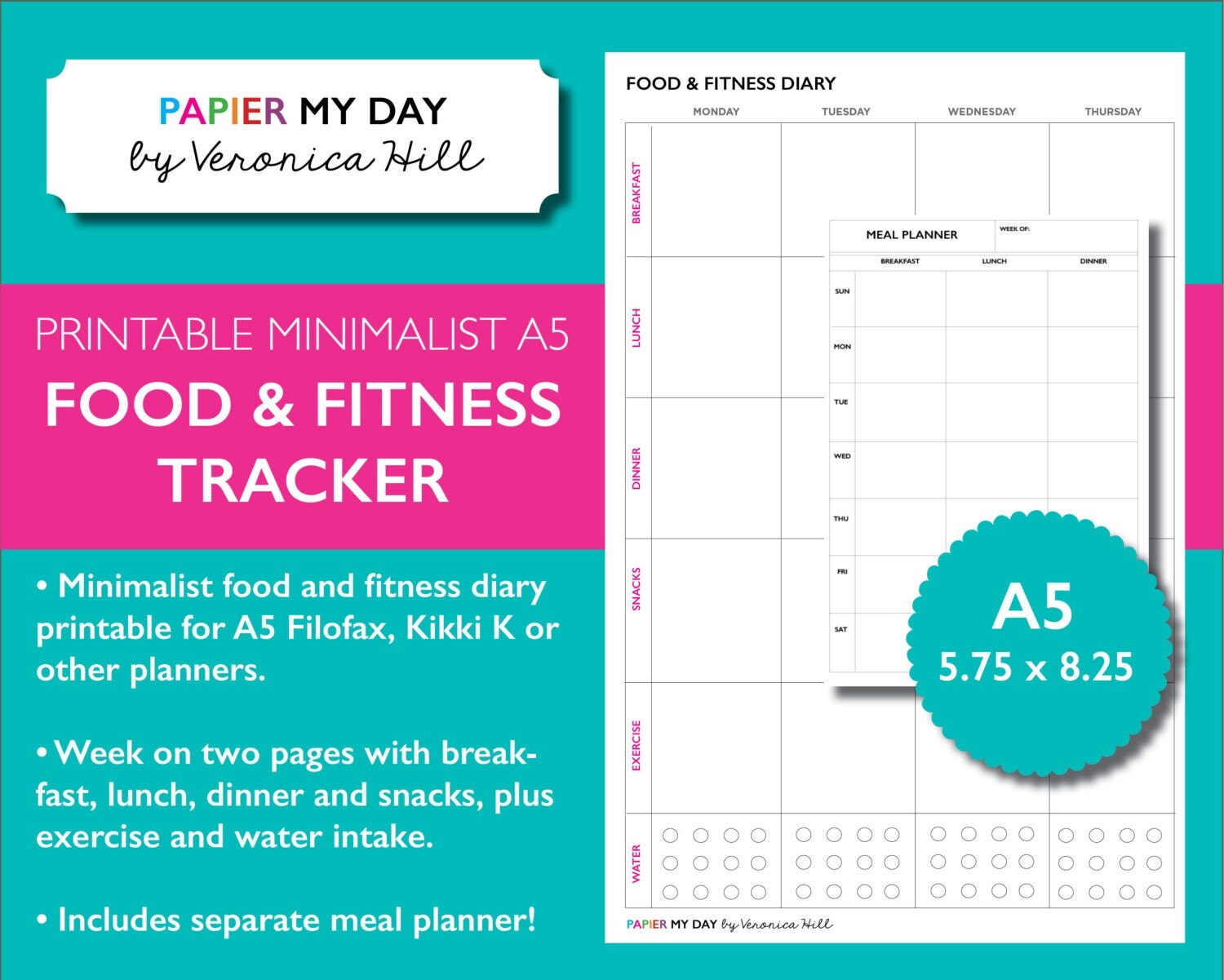 A5 Filofax Food And Fitness Planner Inserts Printable Meal