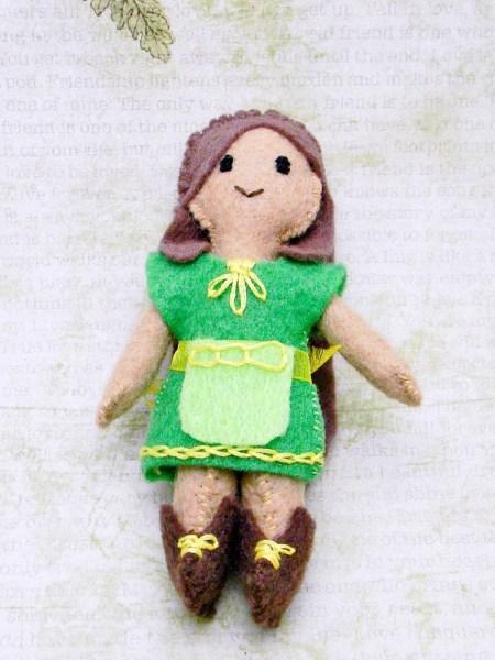 Woodlands Felt Mini Doll: OOAK, Handstitched Miniature