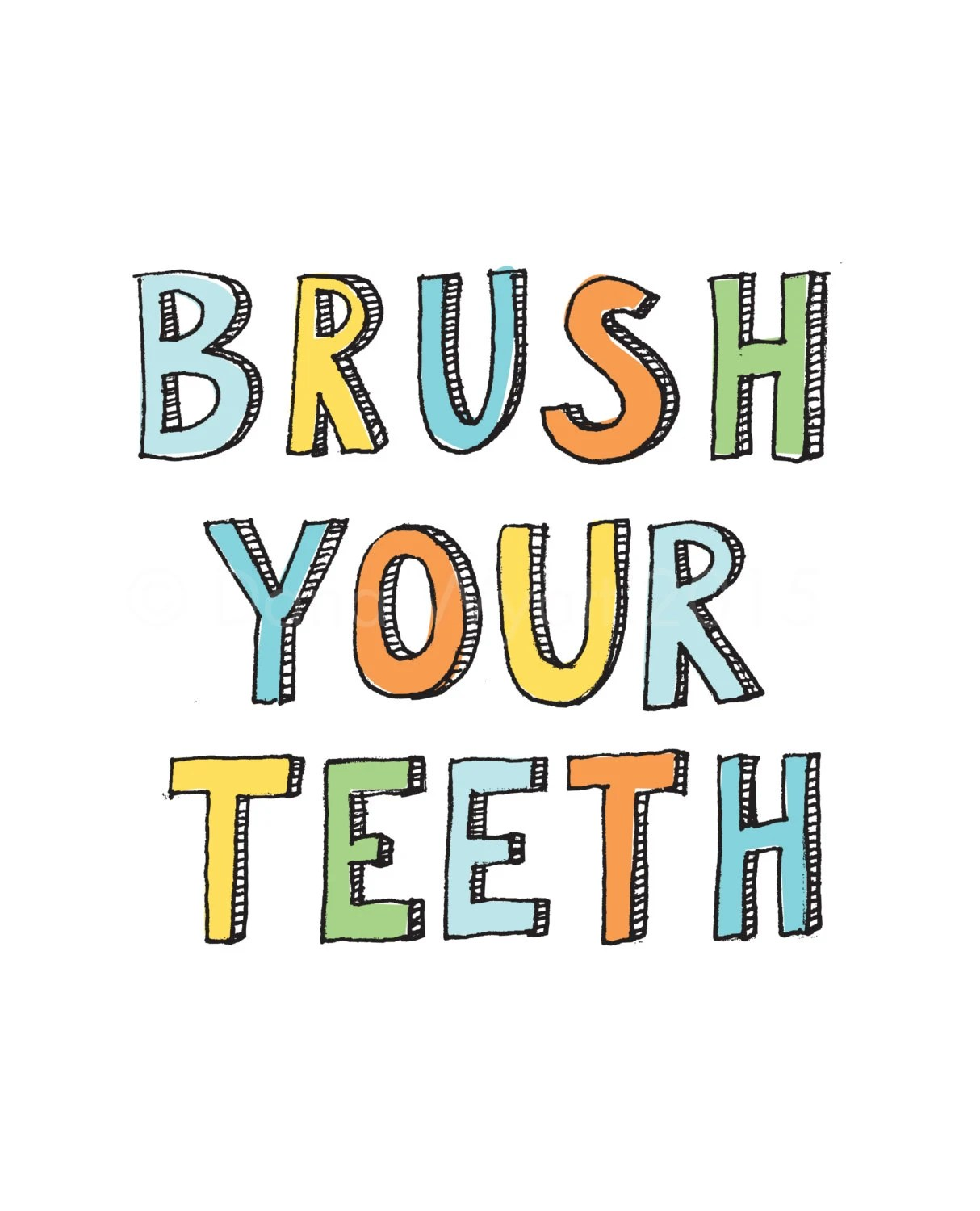 Brush Your Teeth Print Instant Download Printable By