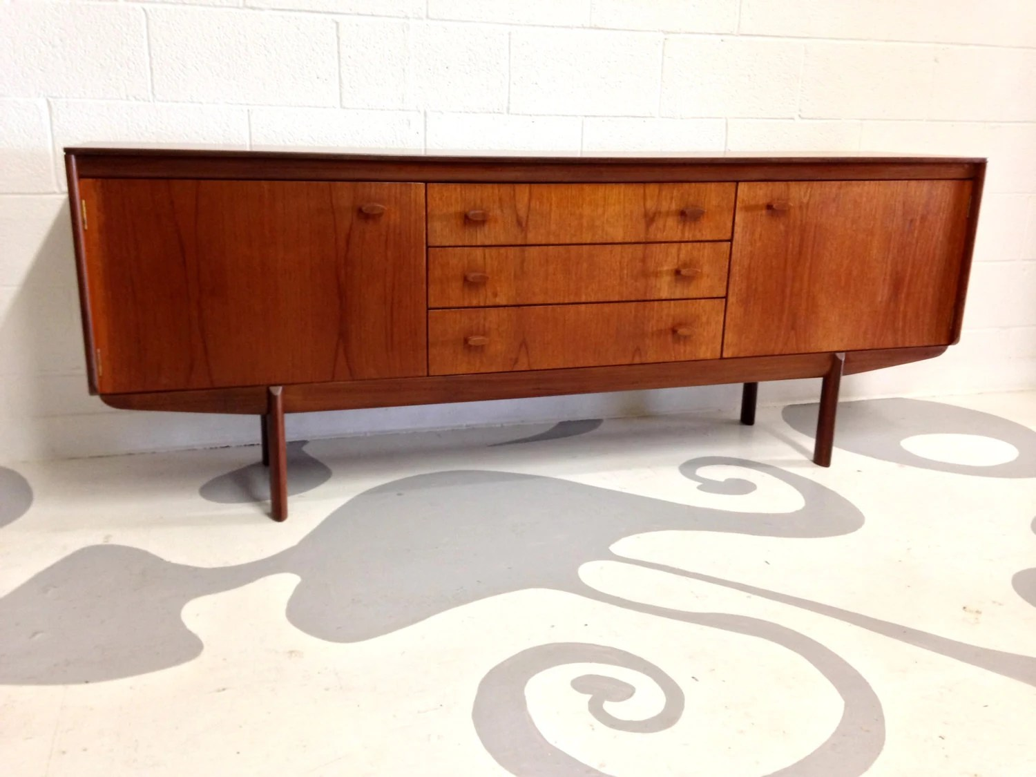 Mid century modern credenza sideboard in teak with 3 drawers manufactured by white newton of - Mid century mobel ...