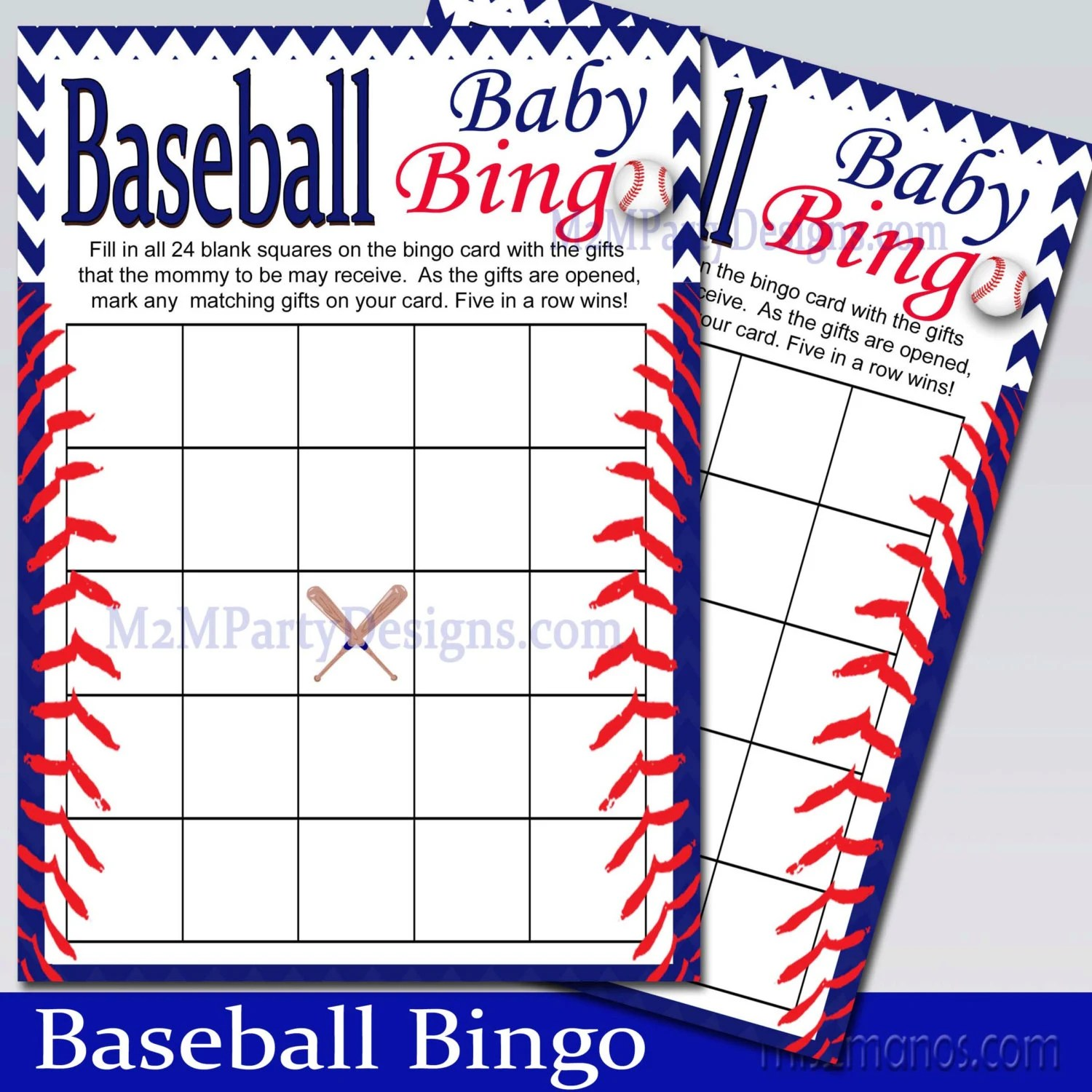 Baseball Baby Shower Bingo Game Printable Instant Download