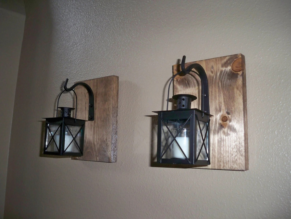 BLACK LANTERN Set Wall Decor Housewarming Gift Wrought Iron