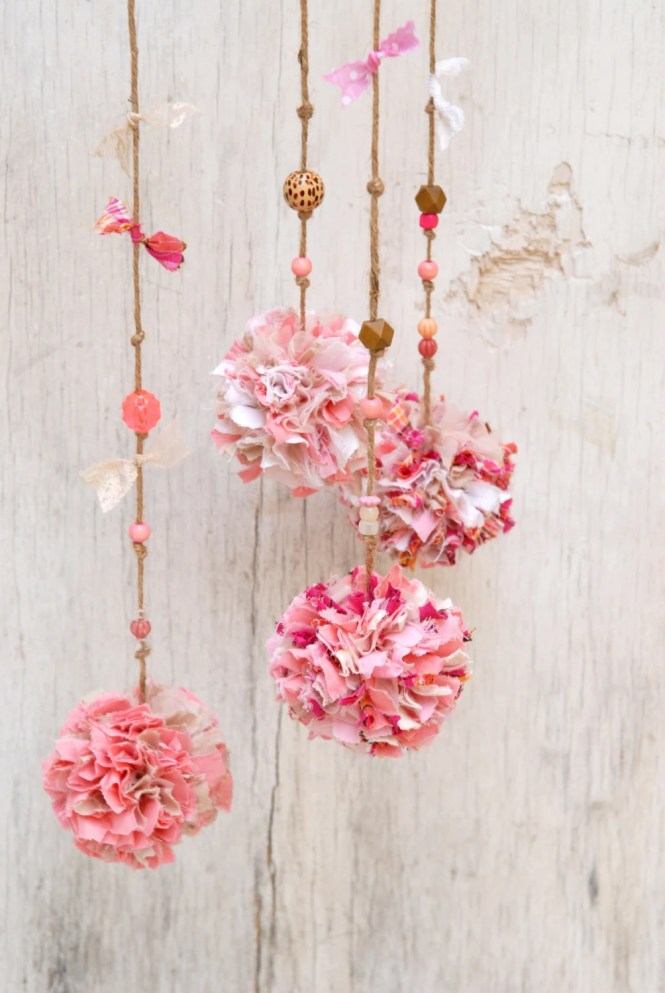 Baby Shower Gift, Pink Pompoms Mobile Branch, Eco Friendly Baby Girl Room Decor, Dusty Pink Rustic Nature Home Decoration, Tagt Rdtt