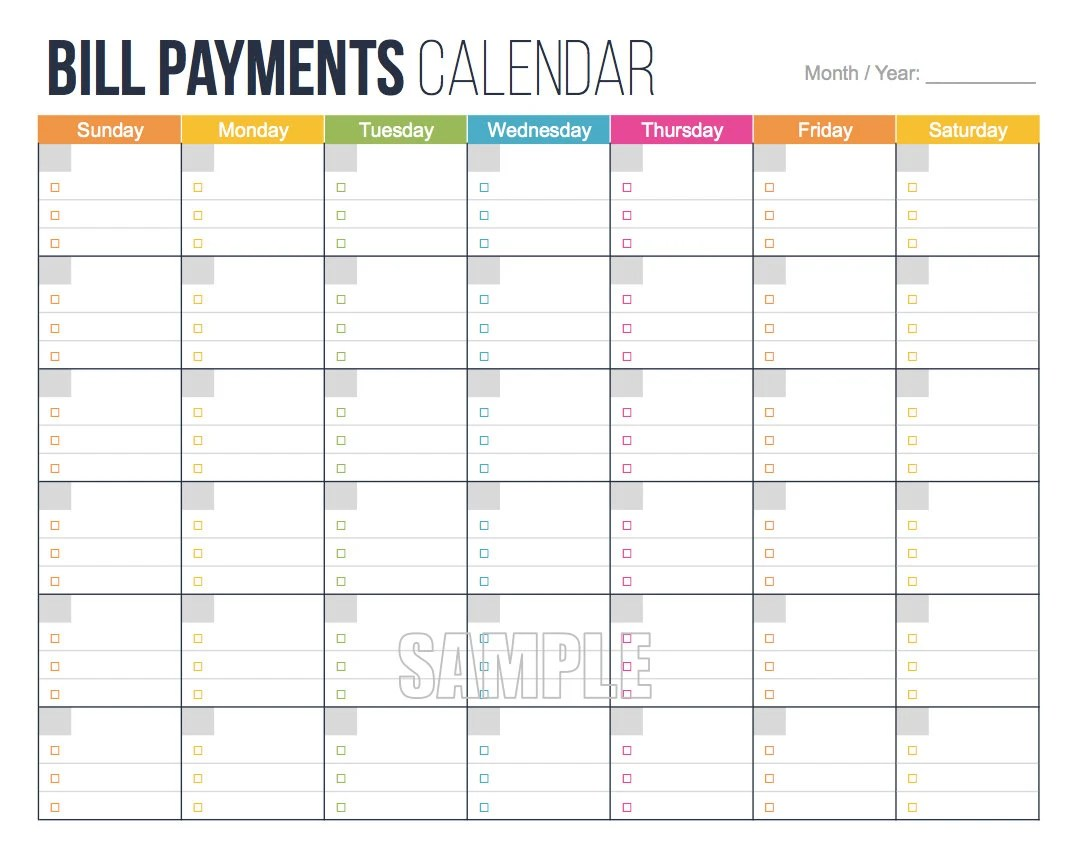 Bill Payments Calendar Editable Personal Finance