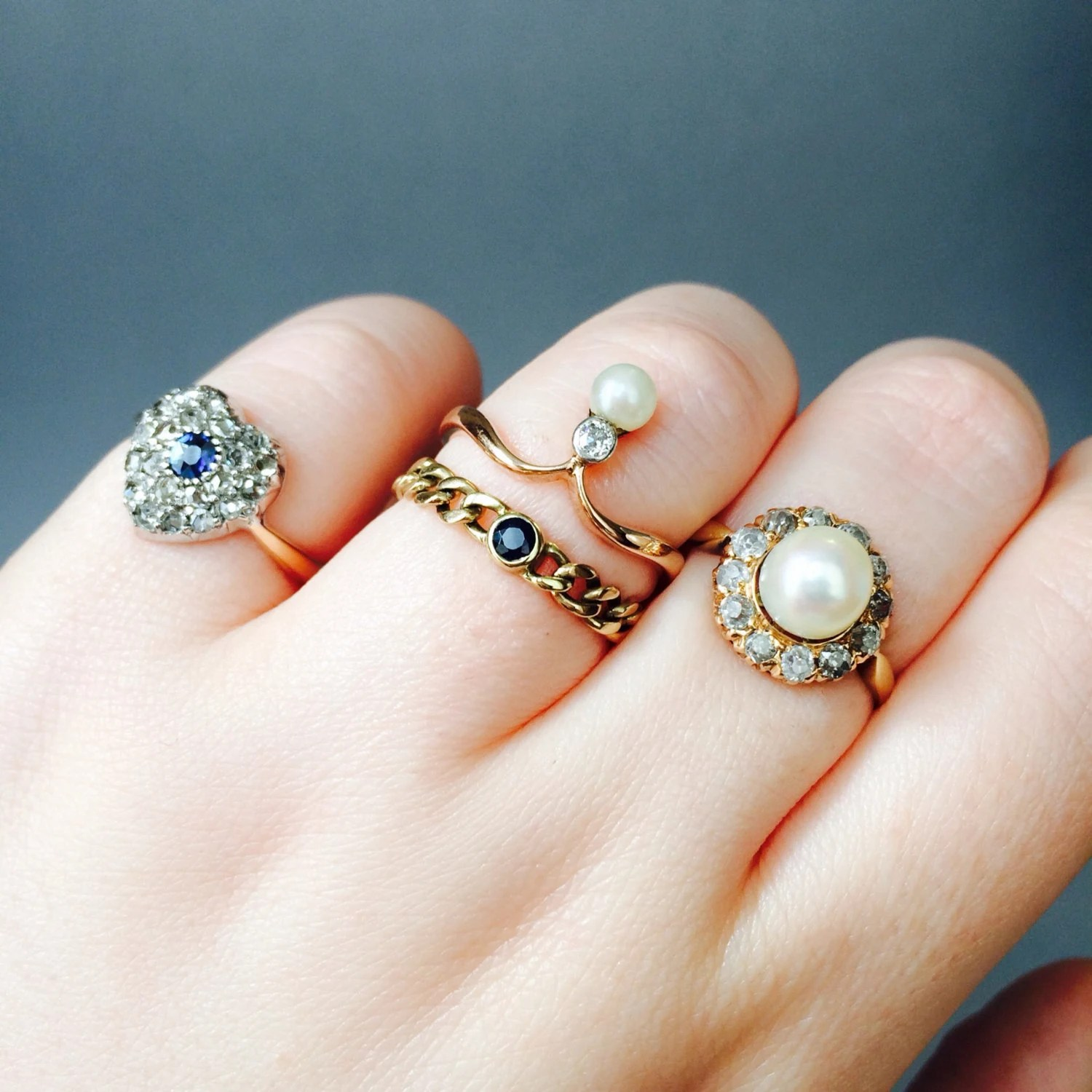CUTE Sapphire Chain Ring Promise Ring Vintage Engagement