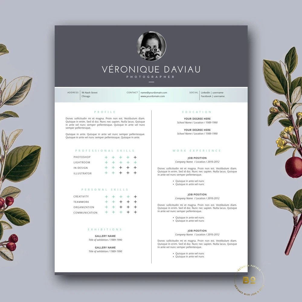 New Cool Resumes Templates Free Download   Shopgrat Resume and Resume Templates Modern Resume Template   CV Template for Word  Mac or PC  Professional  Design  Free Cover Letter  Creative  Modern  Teacher   The Marc