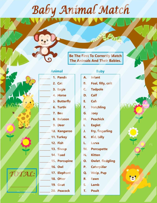 Baby Animal Match Game Baby Animal Name Game Baby Shower