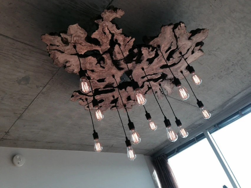 Custom To Order Live Edge Wood Slab Light Fixture With Hanging