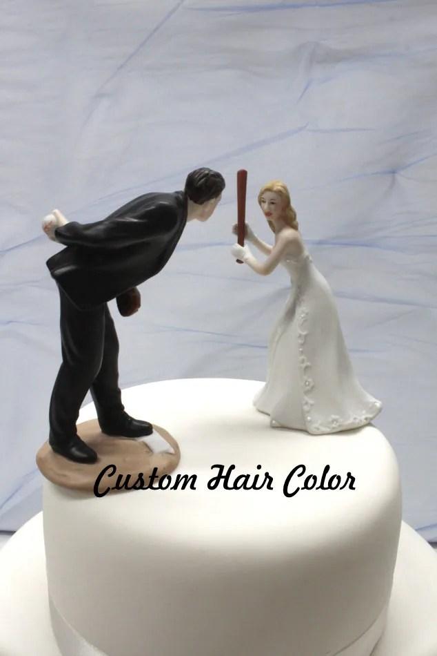 Wedding Cake Topper Personalized Wedding Couple Baseball