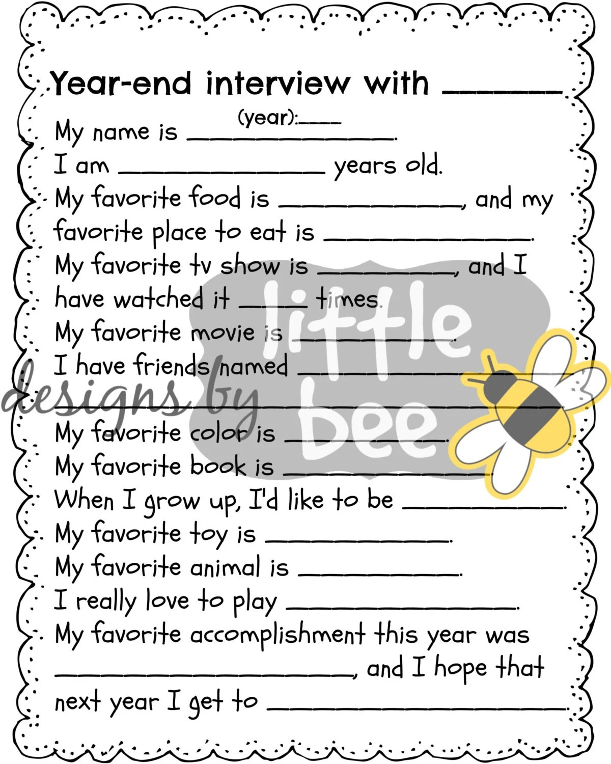 Year End Interview For Children New Year S Child Printable