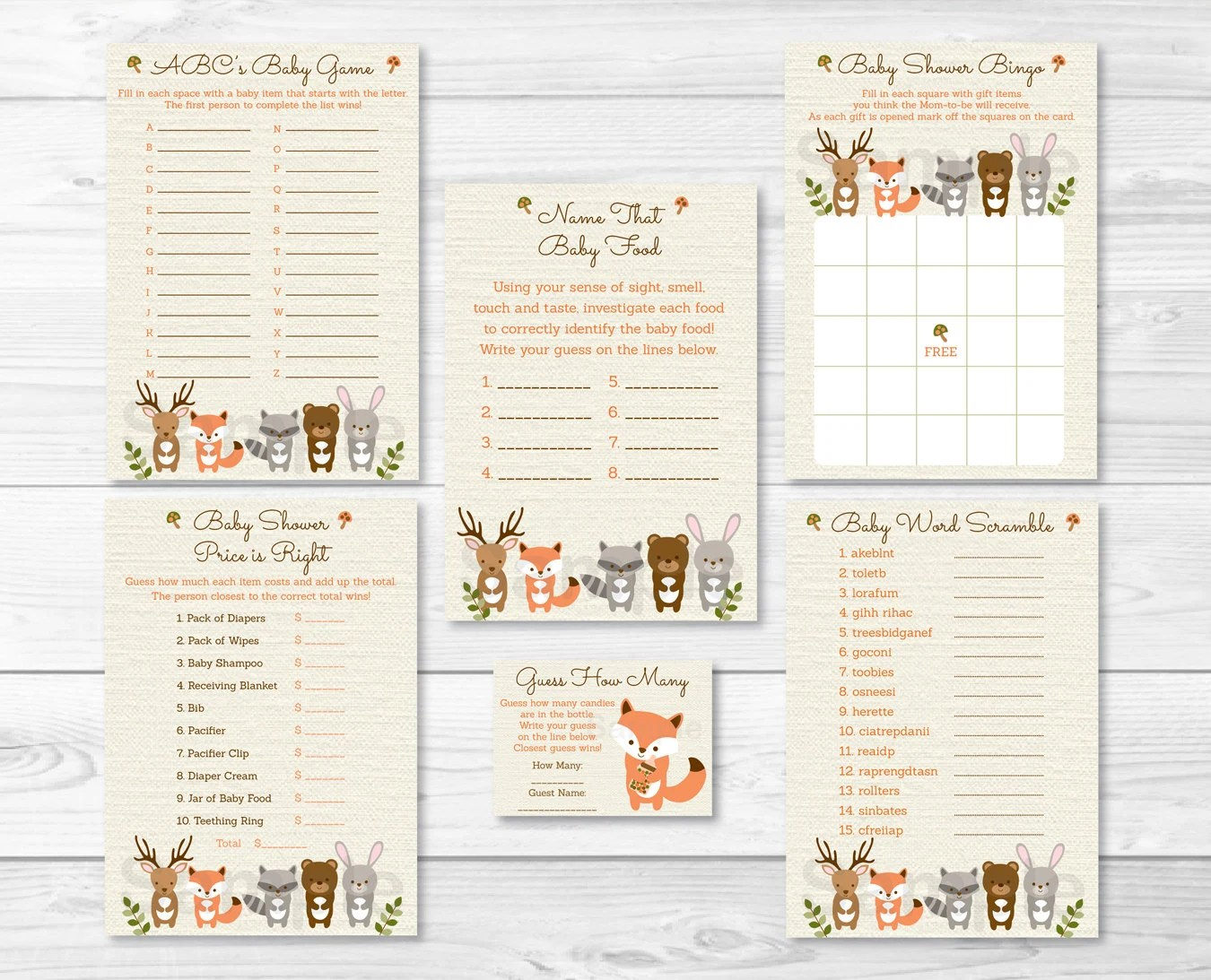 Woodland Forest Animals Neutral Baby Shower Games Pack