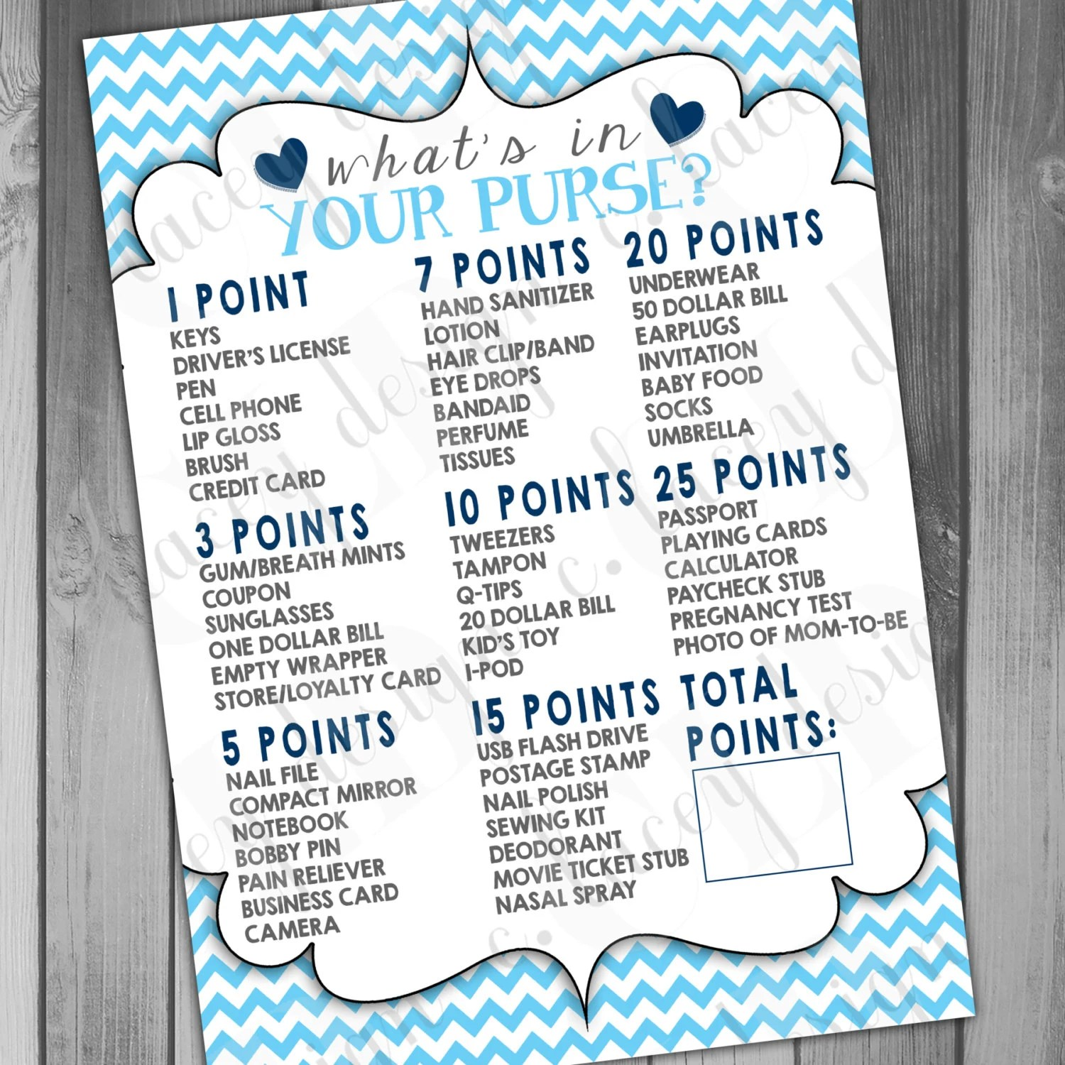 Boy Baby Shower Whats In Your Purse Game Baby Shower Games Boy
