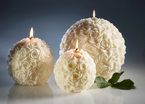 White Wedding Spherical Decorative Candles