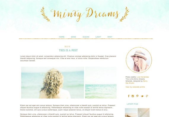 Blogger Blog design. Blogger template. Minty Dreams. Responsive blog design. Premade theme. Gold, glitter, soft green, aqua, mint, teal blue