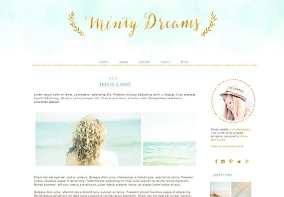 Blogger Blog design. Blogger template. Minty Dreams. Responsive blog design. Premade theme. Gold, glitter, soft green, aqua, mint, teal blue