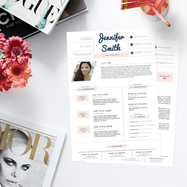 letter template pretty in pastels template package resume design
