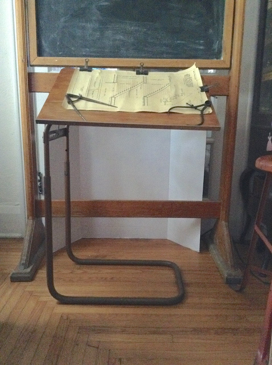 Vintage adjustable petite industrial machine age drafting - Petite table haute ...