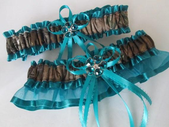 Mossy Oak CAMO Wedding Garter Set Teal Bridal Garter Blue