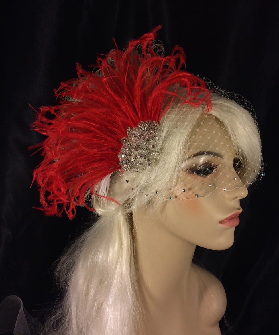 Hollywood Glitz  2-  Bridal Fascinator, Rhinestone Hair clip, Red Feather Fascinator, Bridal Veil, Wedding Veil, Hair Clip