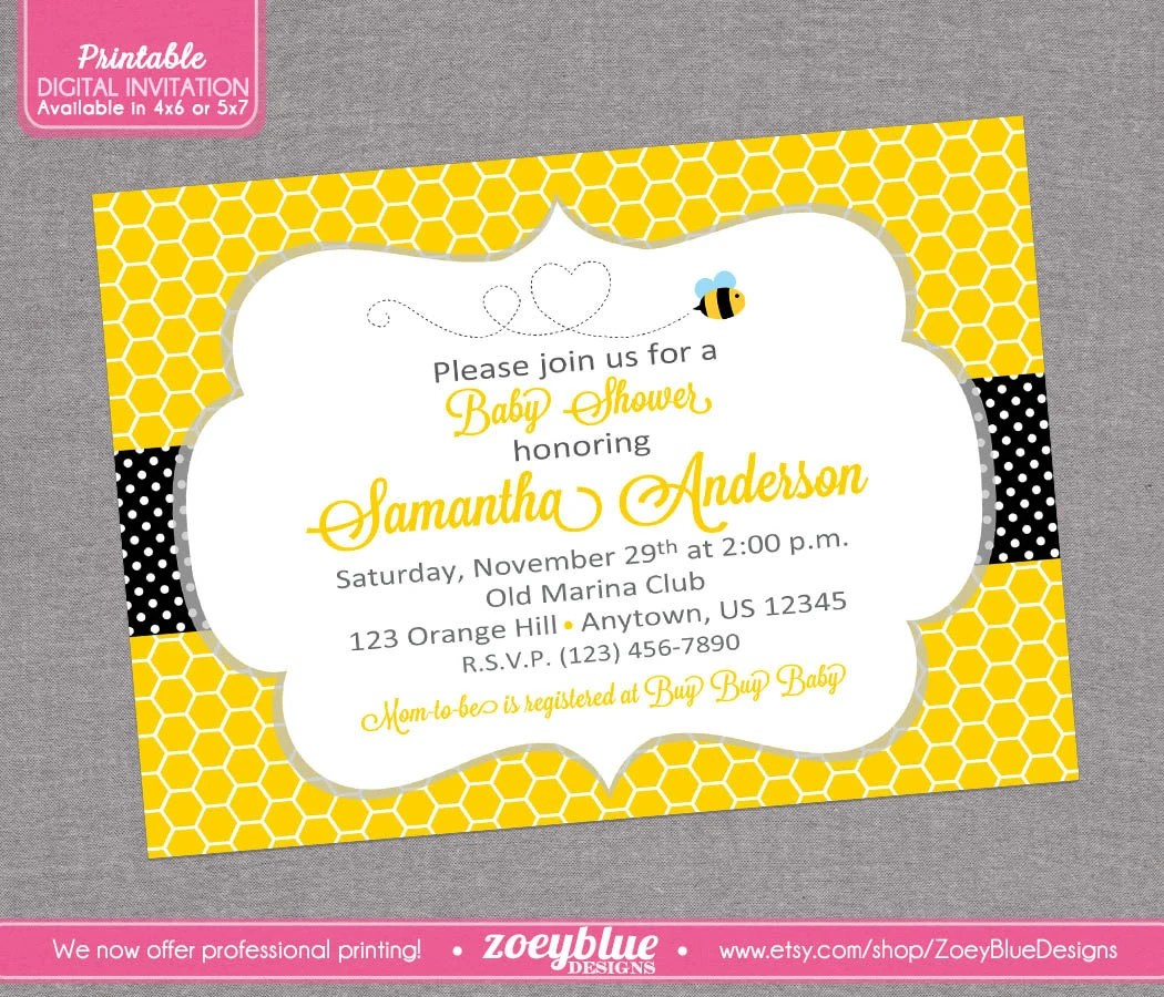 Bumble Bee Bumblebee Baby Shower Printable By