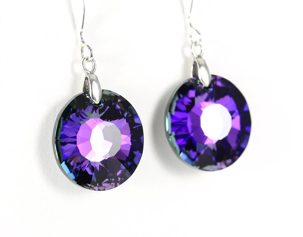 Heliotrope crystal sun earrings