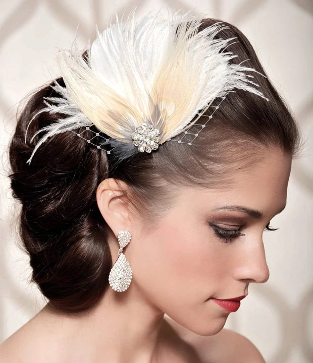 Ivory Bridal Head Piece Champagne Peacock Feather Fascinator