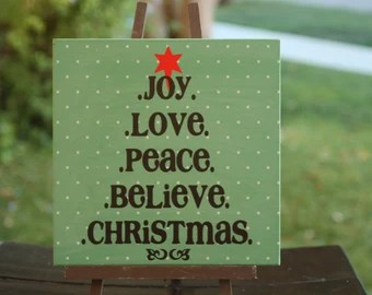 Download Items similar to Vinyl in shape of tree - Joy, Love, Peace ...