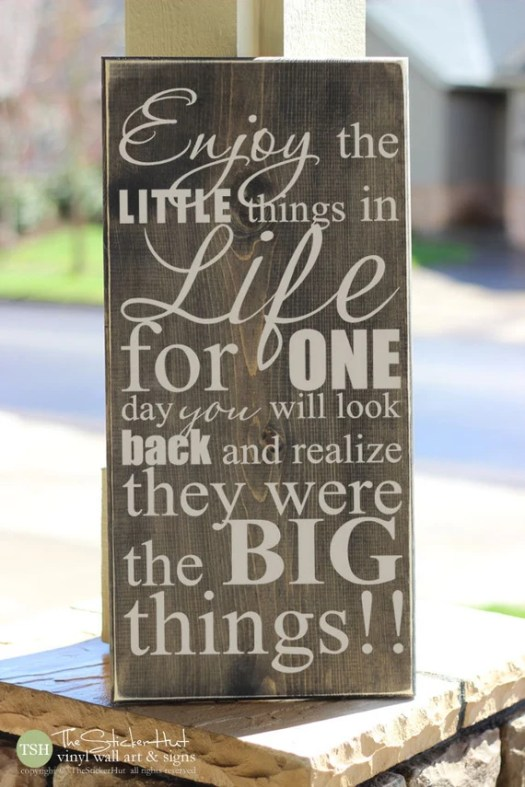 Enjoy the Little Things in Life For One Day You Will Look Back