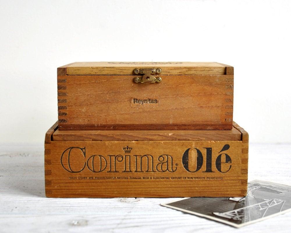Vintage Wood Cigar Boxes Keepsake Box Trinket Box