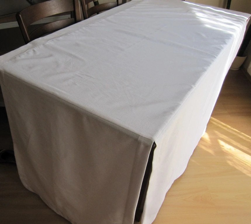 Fitted Split Corner Table Cloth Custom Color Tablecloth Cream