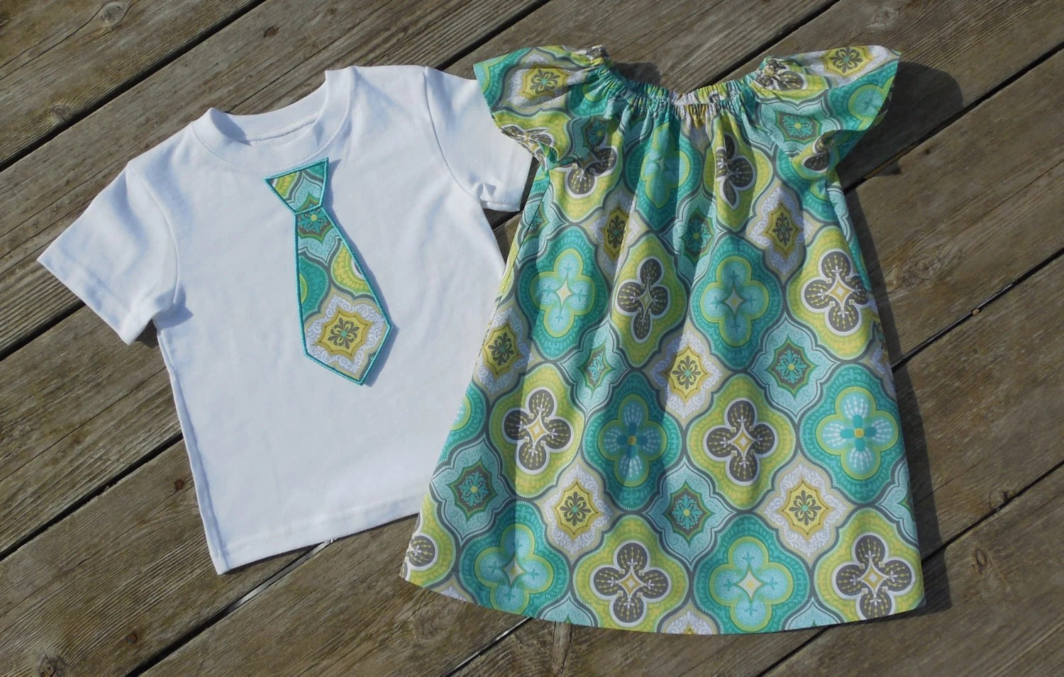 Brother and Sister Matching Outfits – Girl's Aqua and Gray Quatrefoil Peasant Dress with Brother Appliqued Tie Shirt by Livanni