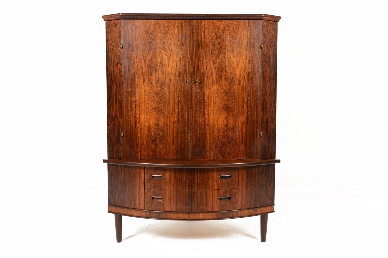 Danish Mid Century Modern Bow Edge Corner Cabinet In