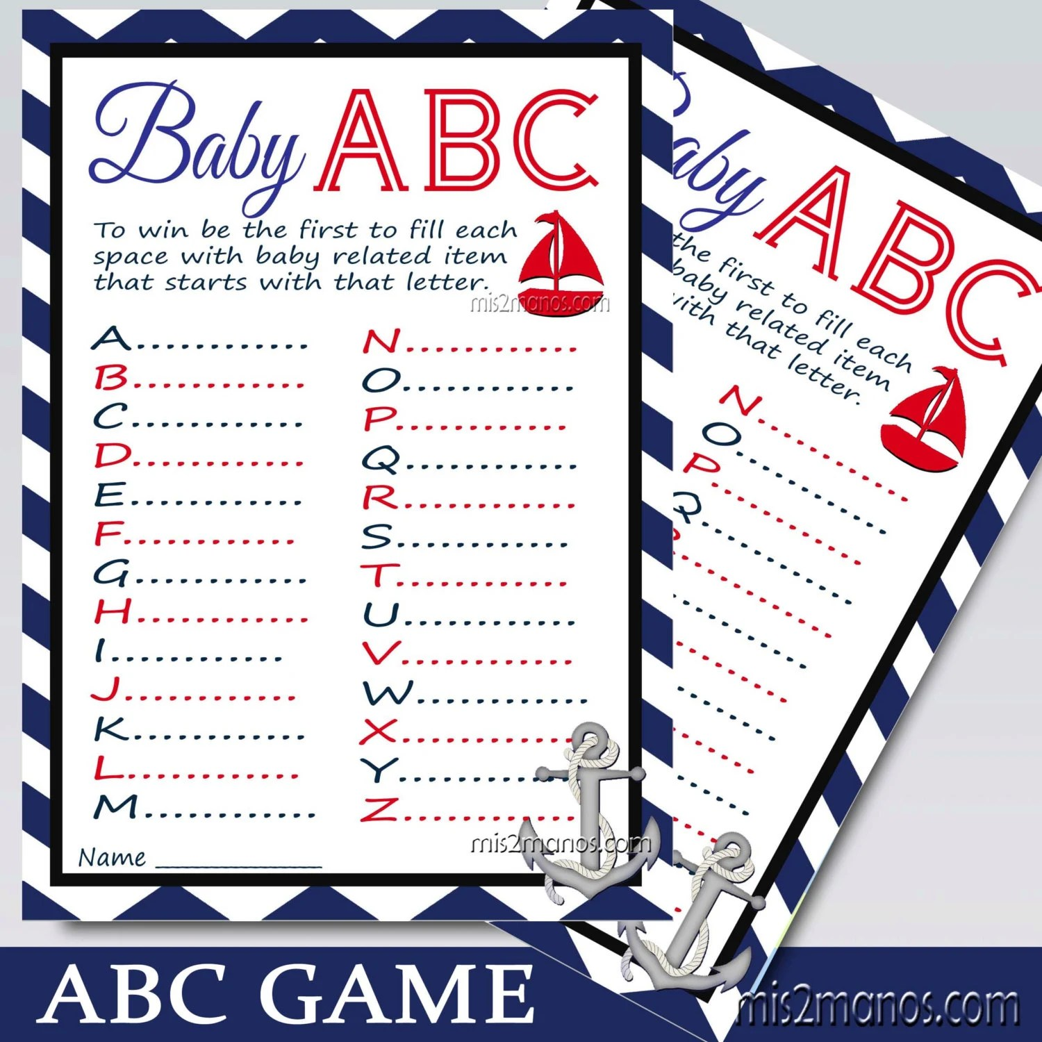 Nautical Chevron Abc Baby Shower Game Printable Card In Red