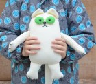 OOAK White Cat Toy Stuffed toy Soft animal Nursery decor Children decor 12'