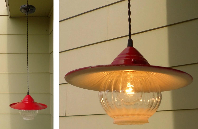 Vintage Industrial Pendant Light Red Farmhouse Hanging