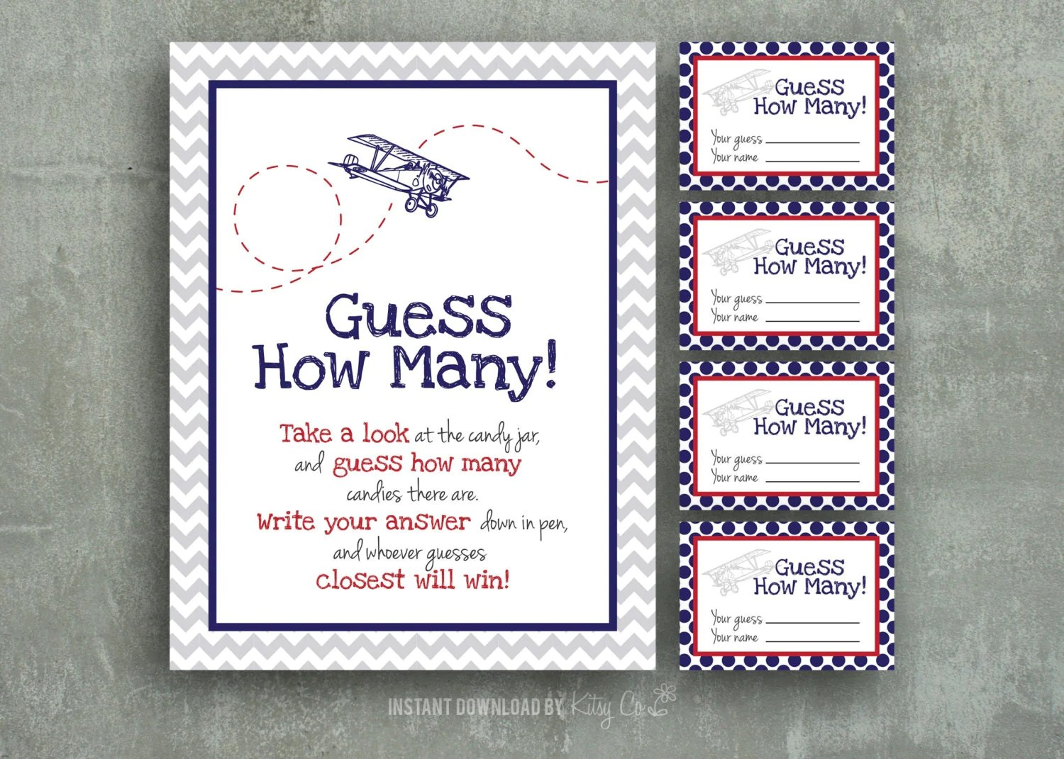 Candy Guess Game Baby Shower Printable Airplane Instant
