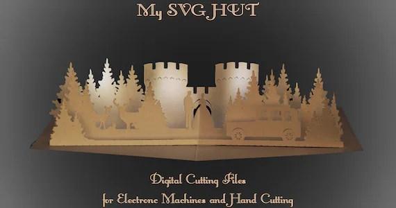 3D SVG PDF Pop Up Karte Burg Hochzeit Digitaler Download