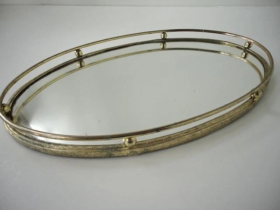 Gold Metal Vanity Tray Mirror Filligree Metal Work 1950s