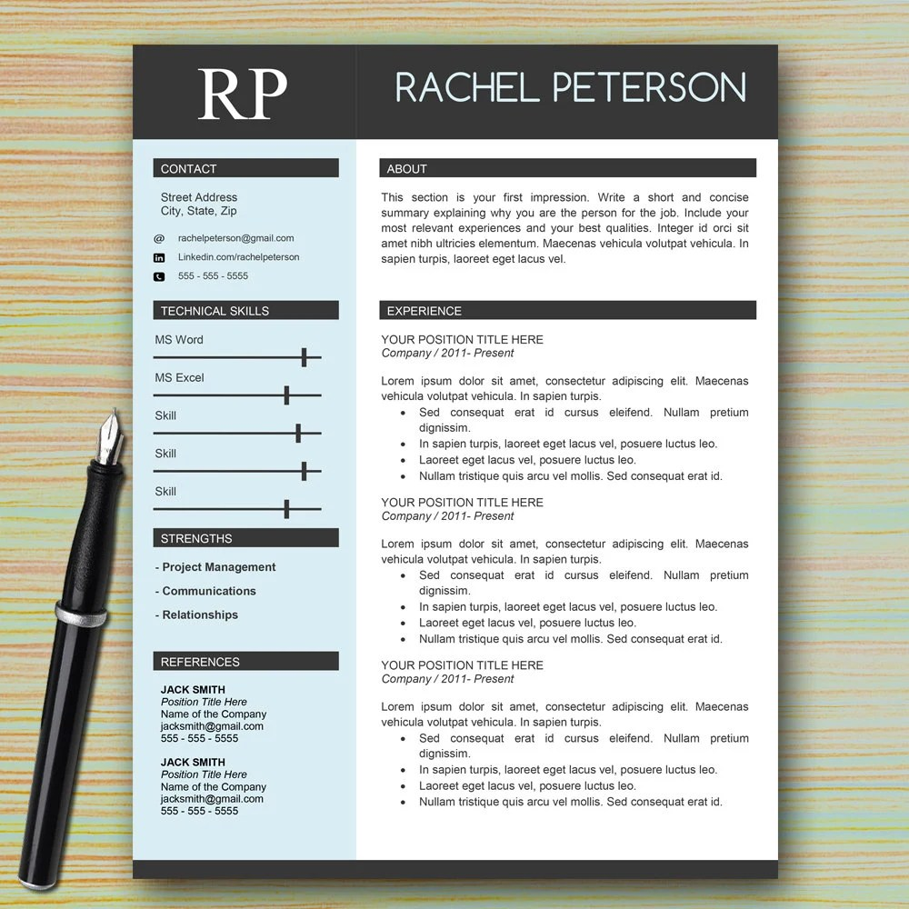 professional one page resume template for microsoft word cover