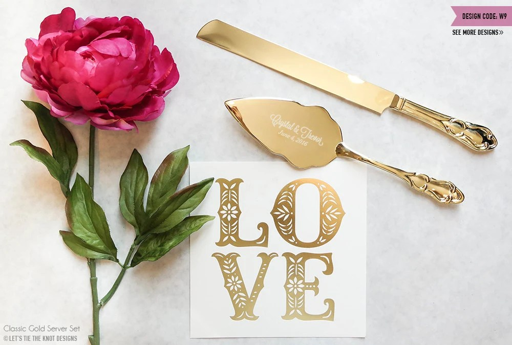 Personalized Gold Wedding Cake Knife And Server Set 2pc