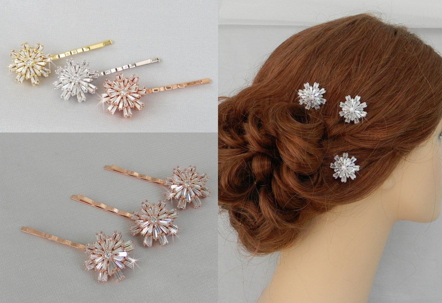 Hair Pins Bridal Hair Pins Wedding Hair Clip Gold Rose By