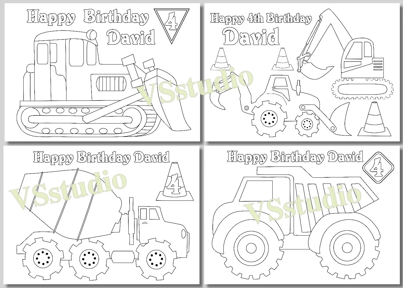Construction Birthday Party Truck Party Coloring Pages