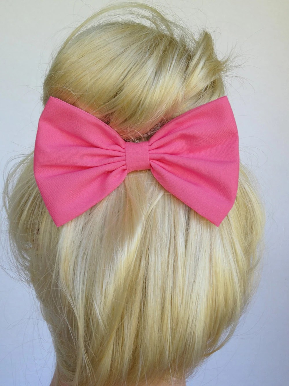 Hot Pink Hair Bow Clip Handmade Accessories Alligator Clips
