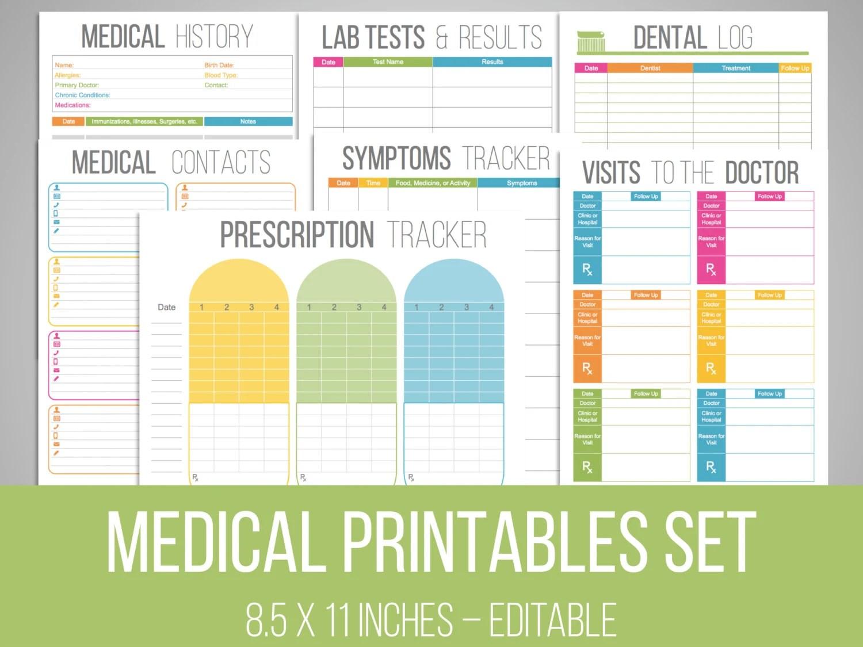 Medical Printables Set Organizing Printables Editable