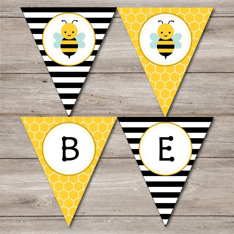 Bumble Bee Banner With Editable Text Printable Bumblebee