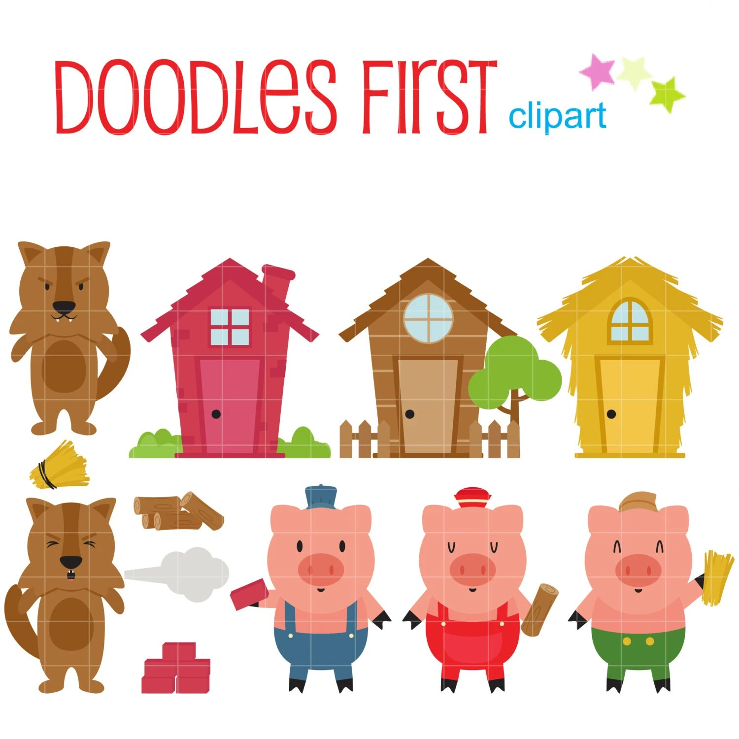 Three Little Pigs Clip Art For Scrapbooking Card Making