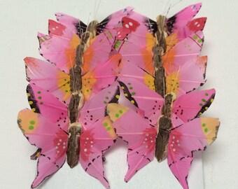 Feather Butterflies 12 AQUA Blue Butterfly By BlissfulSilks